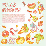 Child and baby food, kids menu with colorful. Vector modern illustration, stylish design element Royalty Free Stock Images