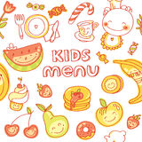 Child and baby food, kids menu with colorful. Vector modern illustration, stylish design element Royalty Free Stock Photos