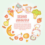 Child and baby food, kids menu with colorful. Vector modern illustration, stylish design element stock illustration
