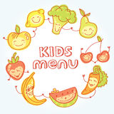 Child and baby food, set of colorful roundelay Stock Image