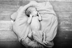 Child baby infant beautiful portrait black and white Stock Photo
