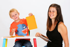 Child and Babysitter Royalty Free Stock Image