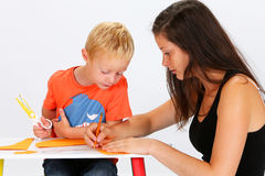 Child and Babysitter Royalty Free Stock Photos