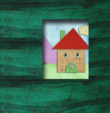 Child background wooden little house scrapbooking Royalty Free Stock Photos