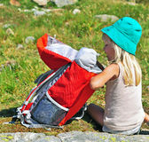Child with a backpack Royalty Free Stock Images