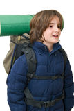 Child with a backpack ready for a trip Stock Photos