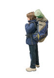 Child with a backpack ready for a trip Royalty Free Stock Photography