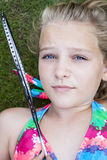 Child with badminton racket Royalty Free Stock Photography