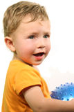 Child with ball. On white background Stock Photo