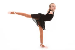Child Ballerina Dancer with Clipping Path. Beautiful eight year old caucasian girl ballerina dancer with clipping path over white royalty free stock image