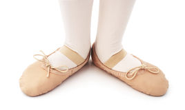 Child Ballet Dancer. Child with ballet slipper on a isolated white background Stock Photography