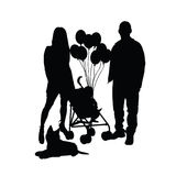 Child with balloon and mam and dad illustration Stock Image
