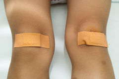 Child with Band Aid on Knee Royalty Free Stock Images