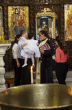 Child baptism in Basilica of the Annunciation. Nazareth. Israel. Royalty Free Stock Photos