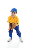 Child baseball softball player crouching with mitt. Baseball, softball or t-ball catcher ballplayer crouching with mitt.  White background Stock Photo