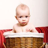 Child in the basket Royalty Free Stock Photos