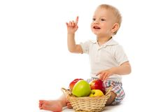 Child with basket Stock Photo