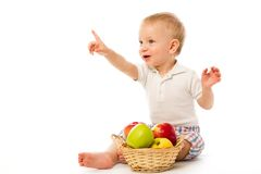 Child with basket Royalty Free Stock Photo