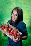Child with basket of apples Stock Images