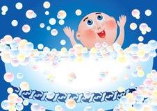 Child bathing vector illustration