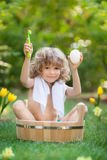 Child bathing outdoors in spring Stock Image