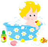 Child bathing with toys. Vector clip-art illustration of a little boy having a bath with her toys Stock Image
