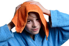 Child with bathrobe Stock Photo