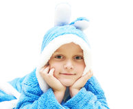 Child in bathrobe Royalty Free Stock Photos