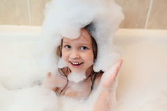 The child in a bathroom Stock Photos