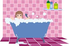 Child in bathroom. Little girl observes the rules of hygiene and bathing in bathroom with pink tile and bath filled with foam Royalty Free Stock Photography