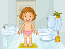 Child in bathroom Stock Photo