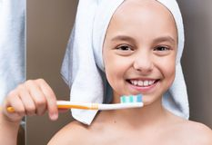 Child in bathroom Stock Images