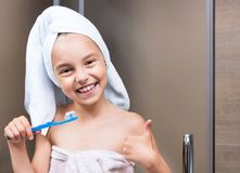 Child in bathroom Royalty Free Stock Photography