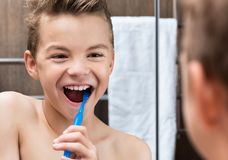 Child in bathroom Stock Image