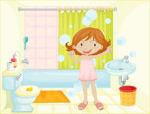 Child in a bathroom Stock Photo