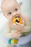 Child in the bathtube nibble rubber toy with one h Royalty Free Stock Photography
