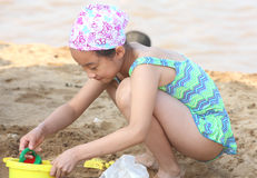 Child in the beach stock image