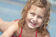 Child on the beach. Portrait of a happy little girl on the beach Royalty Free Stock Photos