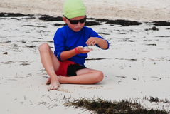 Child on the beach. Happy little boy on the beach royalty free stock image