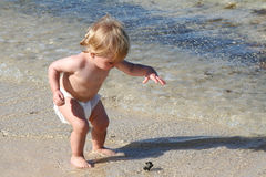 Child on the beach. Young sweet boy on the beach stock photos