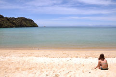 Child on a beach at Abel Tasman National Park Royalty Free Stock Photo