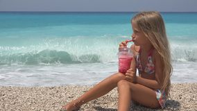 Child on Beach, Kid Portrait Drinking Juice,Thirsty Girl Face View on Seashore royalty free stock images
