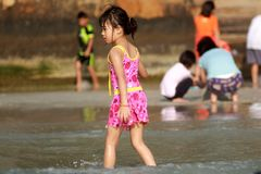 Child on beach. A Child on the sea royalty free stock photo