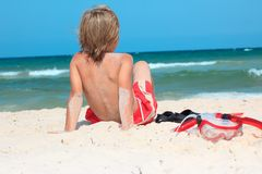 Child on beach with snorkel Royalty Free Stock Photos