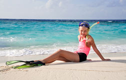 Child on a beach in snorkel set Royalty Free Stock Images