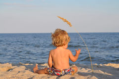 A child at the beach with spikelet Royalty Free Stock Image