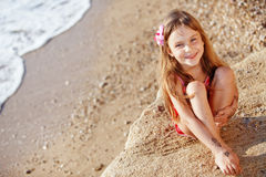 Child at beach in summer Royalty Free Stock Images