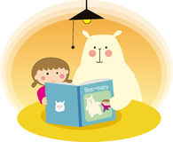Child and bear. Illustration of Child and the bear  reading book Royalty Free Stock Images