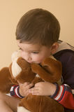 Child with bear. 2 years boy portrait with bear Royalty Free Stock Photo