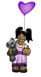Child with Bear and Balloon. Illustration of child with a teddy bear in one arm and a floating heart shaped balloon in the other hand.  Child has a smile on her Stock Photography